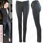 WOMENS LADIES BLACK PU ZIP FRONT JEANS LEATHER LOOK SKINNY STRETCH FIT TROUSER