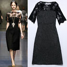 Celebrity Sexy Womens Applique Short Sleeve Lace Tunic Dress Clubwear ball Party