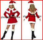 Ladies Christmas Santa Costume Xmas Fancy Dress  All Sizes
