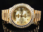 18k Yellow Gold Mens Rolex Presidential Day-Date Diamond Bezel Watch 9.5 Ct