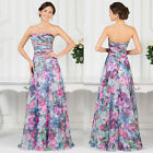 Chinese Style Print Sexy Long Bridesmaid Dress Evening Cocktail Party Prom Gowns