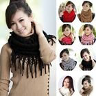 Nice Women Girl Warm Infinity 2 Circle Knit Cowl Neck Long Tassel Scarf Shawl