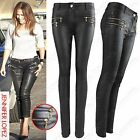 NEW WOMEN LADIES BLACK PU ZIPS JEANS LEATHER WET LOOK SKINNY STRETCH FIT TROUSER