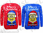 New Kids Jumper Merry Christmas Novelty Knitted Printed Minion Printed 5-10Yr