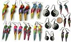 Hand Made & Painted 1980s Amazon Parrot Earrings YIN & YANG Shell & Resin
