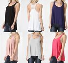 JUNIORS, LACED RACERBACK, HIGH / LOW DRAPE, FLOWY TANK TOP, SLUB JERSEY,  S M L