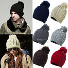 New Unisex Women Winter Warm Ski Slouch Cable Knit Knitted Bobble Hat Beanie Cap