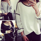 New Women Loose Geometry Pullover Shirt Long Sleeve Top Shirts Blouse Vogue