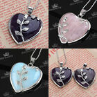 1x Rose Quartz Gemstone Heart Flower Stone Divination Reiki Pendant For Necklace