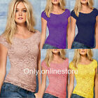 Women's Lace Floral Short Sleeve Sheer Vest Tank Tops Tee T-Shirt Blouse S-XXL