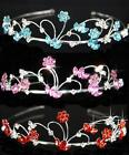 SALE Bridesmaid Prom Flower Girl Turquoise / Pink Crystal Plated Tiara T1090