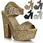 Ladies High Heel Platform Peep Toe Barely There Glitter Prom Party Sandals Shoes