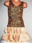 GIRLS GOLD FLAMENCO STYLE SEQUIN CHIFFON PETALS EVENING DANCE PARTY DRESS
