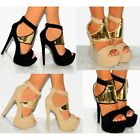 WOMENS FAUX SUEDE GOLD STRAPPY SANDALS ANKLE CUFF HIGH HEELS SHOES SIZE 3 4 5 6