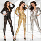 167-9 - Intricately Crafted Cut Out Snake Bodysuit Catsuit Black Gold Silver