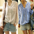 Fashion Womens Lady Button Down Cotton Tops Blouses Long Sleeve Casual T Shirt