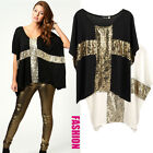 Fashion Women Oversized T-shirt Paillette Cross Short Batwing Sleeve Tops Blouse