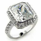 4.5 Four Carat Plated Clear CZ Cushion Ring 5,6,7,8,9, FREE SHIPPING! Sparkle
