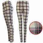 NEW WOMEN RED TARTAN CHECK STRETCH FIT JEAN TROUSERS LADIES JEGGINGS LOOK PANTS
