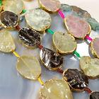 "Natural Quartz Gold Nugget Beads 16"",pick your stone style"