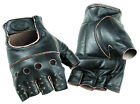 River Road Buster Mens Vintage Shorty Leather Motorcycle Riding Glove Fingerless
