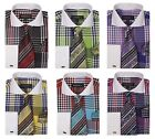New arrival Men's High Quality Check Design Dress Shirt French Cuff Set 0626