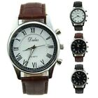 Roman Dial Men Elegant Leather Black Analog Quartz Sport Wrist Watch Gift New