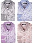 Men's Cotton Blend Double Collar Floral Design Casual Dress Shirts