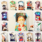 Vintage Summer Women Short Sleeve Graphic Printed T Shirt Tee Hot Blouse Top B50