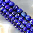 "Natural Lapis lazuli Faceted Round Beads 15"" , 6,8, 10,12mm pick your size"