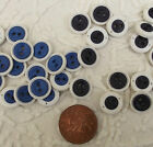 Job lot 50 vintage round buttons Two-tone Royal Blue or grey 2 holes White rim