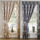 "FLORAL LEAF 3"" TAPE TOP FULLY LINED PAIR READY MADE CURTAINS SILVER GREY CREAM"
