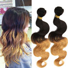 "Brazilian Virgin 10""-30"" Human Hair Extensions Wave 1b27# Remy Hair Weave Weft"
