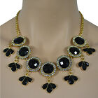 Womens Diamante Detailed Golden Chain Statement Necklace Pandant