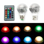1/2/4 x E27 B22 RGB 5W Colour Changing Dimmable LED Bulbs Light Lamp + IR Remote
