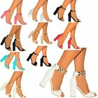 STRAPPY SANDALS BLOCK HEEL GOLD METAL ANKLE STRAP HIGH HEELS SHOES SIZE 3 4 5 6