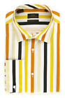 Steven Land Multi Colored Stripe Dress Shirt Modern Fit w/ French Cuffs DM1241