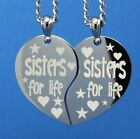 Broken Split Heart Sisters for Ever with FREE ENGRAVING OF PERSONAL MESSAGE