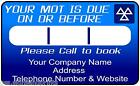 MOT REMINDER STICKERS LABELS - 100% WATERPROOF - CHOICE OF QTY - GARAGE - MOT