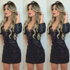 Fashion Women Slim Dress Lace V-Neck 3/4 Sleeve Clubwear Party Mini Dress