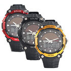 Men's Solar Atomic Sports Watch Led Display Round Dial Quartz Casual Wristwatch