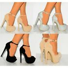 WOMENS STRAPPY SANDALS PLATFORMS ANKLE STRAP STILETTOS HIGH HEELS SHOES SIZE 3-8