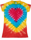 Ladies Tie Dye T Shirt  rainbow heart, valentines by Sunshine Clothing in the uk
