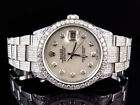 Mens Excellent Rolex Datejust Oyster Stainless Steel Diamond Watch with 9.5 Ct