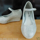 Girl Silver Buckle Medium Pageant Crowning Dress Shoes Youth Size 13,1,2,3,4