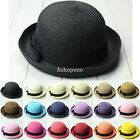 Vintage Women Summer Straw Bowler Hat Sun Beach Fedora Derby Style Cloche Cap