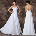 ~FREE SHIP~ A LINE LONG Evening Bridesmaid Prom Formal Party White Gowns Dresses