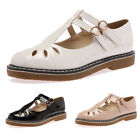 NEW LADIES CUT OUT MARY JANE WOMENS SCHOOL DOUBLE BUCKLE FLATS SHOES SIZE 3-8