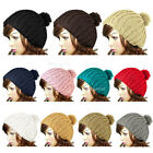 Women Lady Candy Color Wooly Knitted Beanie Warm Winter Cap Pom Pom Bobble Hat