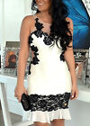 Women's Floral Print Lace Sleeveless Bodycon Cocktail New Sexy Short Mini Dress